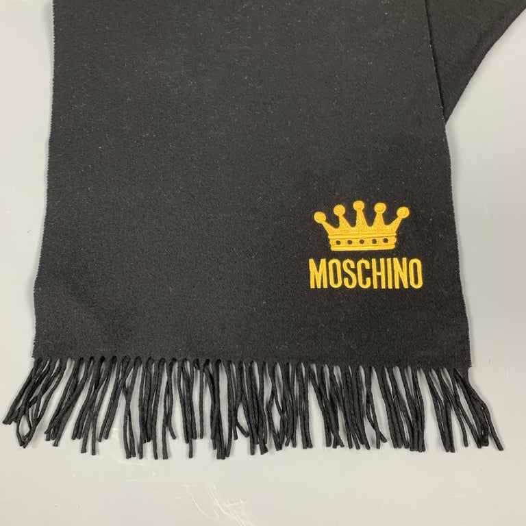 Men's MOSCHINO Black Wool Yellow EMbroidered Crown Logo Fringe Scarf For Sale