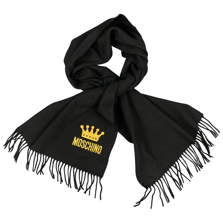 MOSCHINO Black Wool Yellow EMbroidered Crown Logo Fringe Scarf For Sale