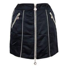 Moschino Black Zip Decorated Short Bib Skirt Rocker 1990s