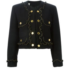 Moschino Black Zipper Detail Vintage Jacket, 1990.