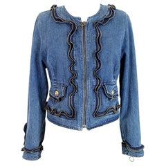 Moschino Blue Cotton Denim Zip Short Jacket