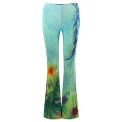 MOSCHINO Blue Green Tropical Floral Leaf Graphic Print Flared Bell Bottom Pants