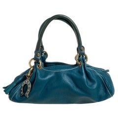 Moschino Blue Leather Satchel
