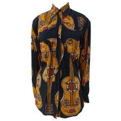 Moschino Blue Navy Picasso / Guitars Shirt
