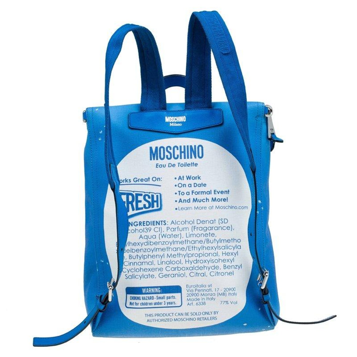 1f080fdca7c0 Moschino Blue PVC Fresh Couture Print Backpack For Sale at 1stdibs