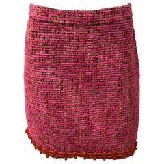 Moschino Boutique Pink & Black Tweed Skirt-6