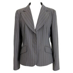 Moschino Brown Beige Wool Pinstripe Classic Fitted Jacket
