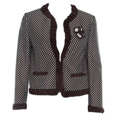 Moschino Brown Dobby Jacquard Cotton Blend Ruffled Trim Blazer M