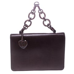 Moschino Burgundy Lizard Embossed Leather Top Handle Bag