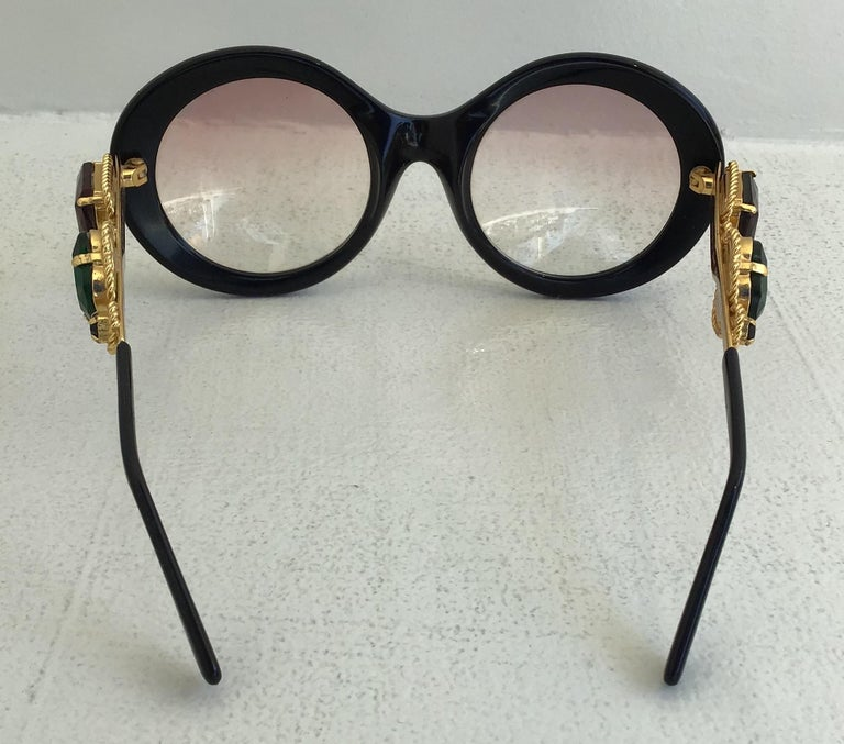 Women's or Men's Moschino By Persol M253 Black Vintage Jeweled Sunglasses