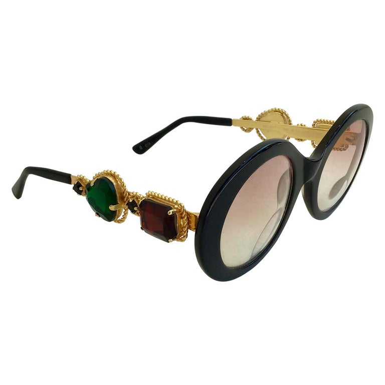 Moschino By Persol M253 Black Vintage Jeweled Sunglasses