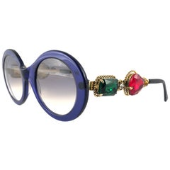 Moschino By Persol M253 Vintage Blue Jewelled Lady Gaga Sunglasses, 1990