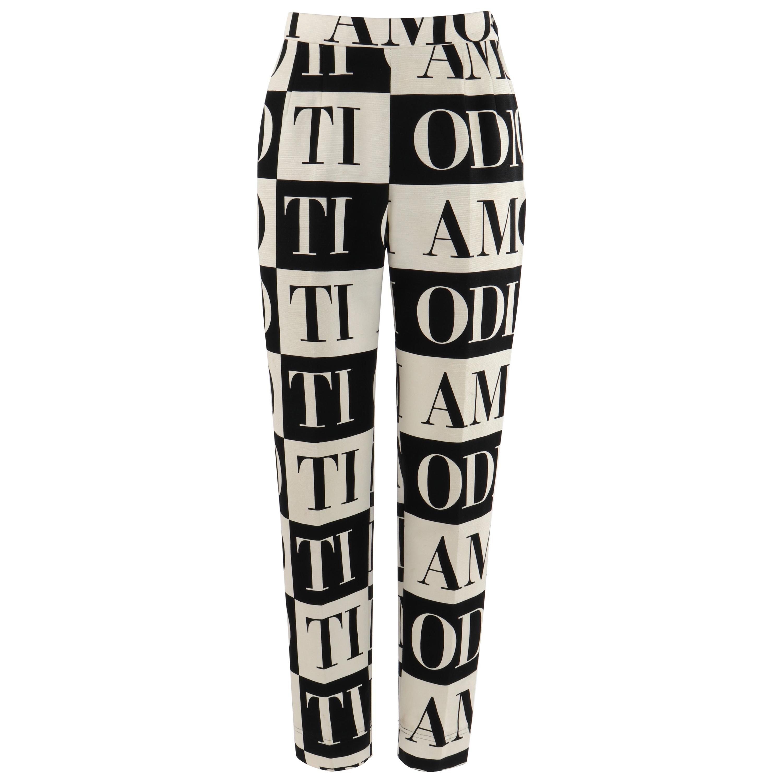 "MOSCHINO c. 1990's Cheap & Chic ""Ti Amo Ti Odio"" Black Cream Print Trouser Pants"