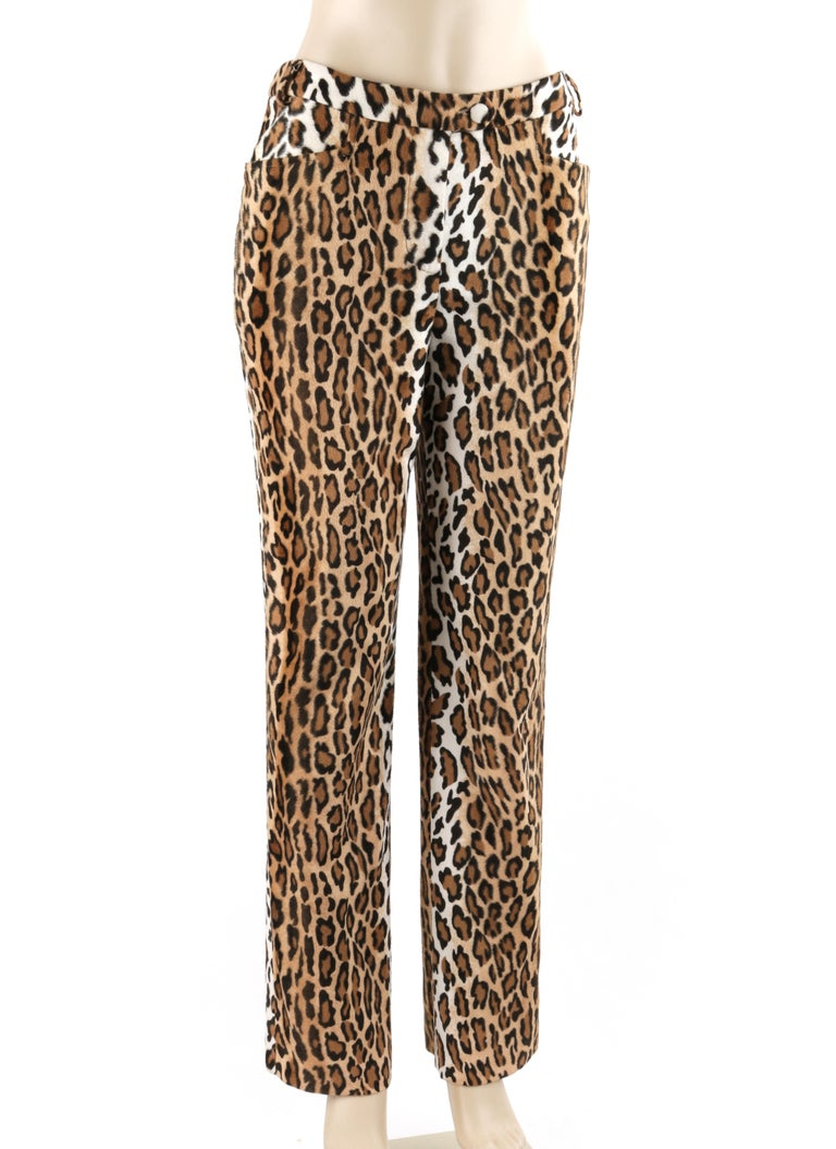 MOSCHINO c.1990's Cheap & Chic Brown Black Leopard Print Faux Fur Trouser Pants     Brand / Manufacturer: Moschino Cheap & Chic Circa: 1990's Designer: Rossella Jardini Style: Fitted straight leg trouser pants Color(s): Shades of brown, tan, black,