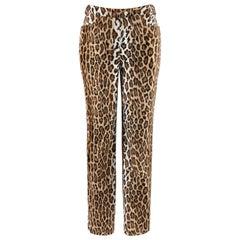 MOSCHINO c.1990's Cheap & Chic Brown Black Leopard Print Faux Fur Trouser Pants