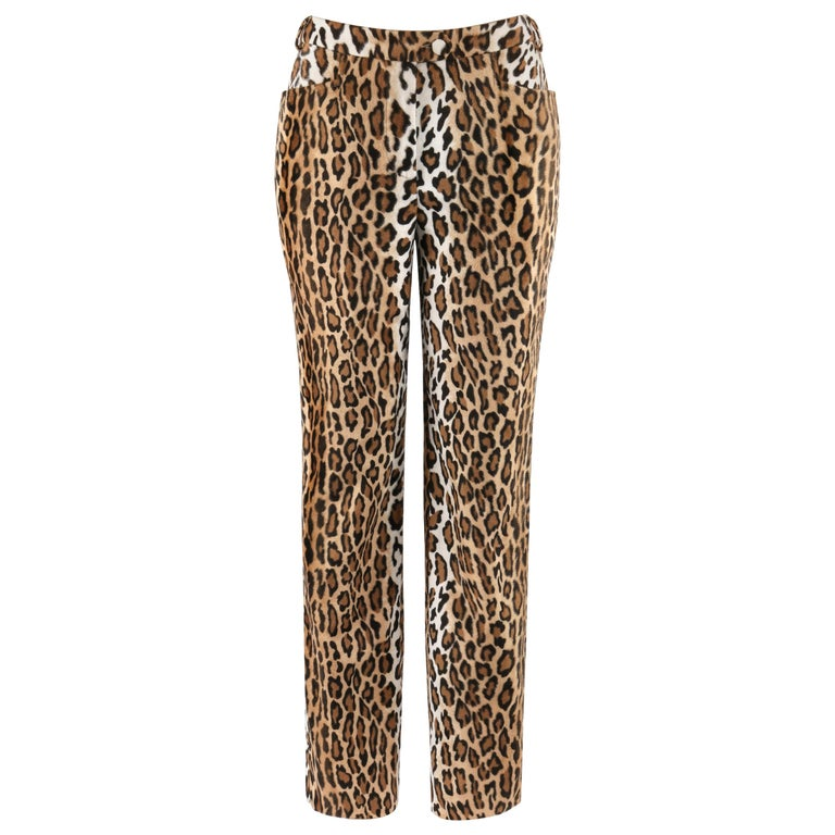 MOSCHINO c.1990's Cheap & Chic Brown Black Leopard Print Faux Fur Trouser Pants For Sale