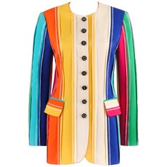 MOSCHINO c.1990's Couture Rainbow Multi-Color Stripe Signature Blazer Jacket