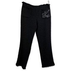 Moschino Cheap and Chic Black Wool Bouclè Trousers Size 44