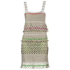 MOSCHINO CHEAP and CHIC Color Block Ecru Crochet Dress
