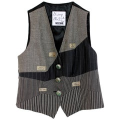Moschino Cheap and Chic Gray Wool Pinstripe Neon Bright Button Vest 1990s