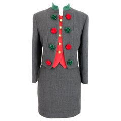 Moschino Cheap and Chic Gray Wool  Pom Pom Christmas Suit Skirt and Jacket