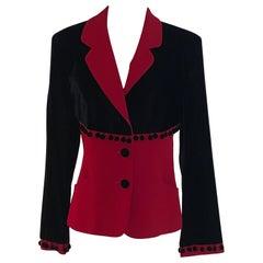 Moschino Cheap and Chic Red and Black Velvet  Pom Pom Blazer Jacket 1990s