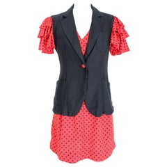 Moschino Cheap and Chic Red Black Polka Dot Cocktail Suit Dress