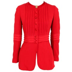 Moschino Cheap And Chic Red Button Jewel Evening Flared Jacket