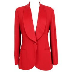 Moschino Cheap And Chic Red Satin Flared Tuxedo Jacket 1990s
