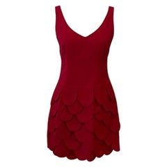 Moschino Cheap And Chic Red Wool Scalloped Dress