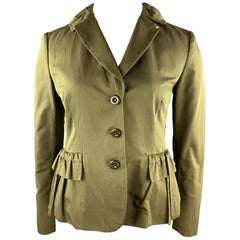 MOSCHINO CHEAP AND CHIC Size 12 Olive Twill Cotton Blend Jacket