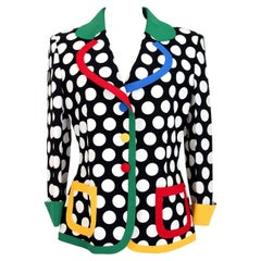 Moschino Cheap and Chic White Black Polka Dot Flared Jacket 1990s