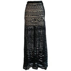 Moschino Cheap & Chic 1990s Black Sheer Passamenterie Lace Ribbon Maxi Skirt