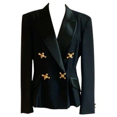 Moschino Cheap & Chic 1990s Faucet Embellished Black Tuxedo Jacket Blazer, 1990s