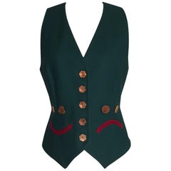 Moschino Cheap & Chic 1990s Smile and Frown Face Vest Green with Stripe Back