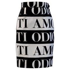 Moschino Cheap & Chic 1990s Ti Amo Ti Odio Black and White Pencil Skirt
