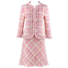 MOSCHINO Cheap & Chic 2pc Pink Plaid Tweed Fringed Jacket Skirt Suit Set