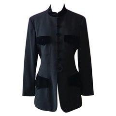 Moschino Cheap Chic Black Wool Velvet Trim Blazer