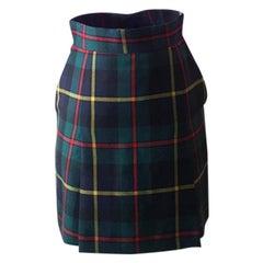 Moschino Cheap Chic Green Wool Plaid Skirt