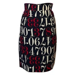 Moschino Cheap & Chic Numbers Pencil Skirt