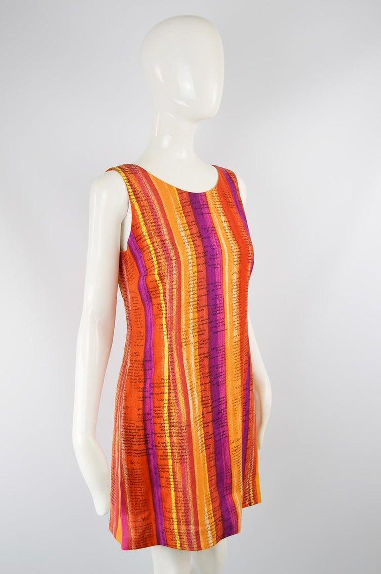 Women's Moschino Cheap & Chic 'Recipe' Watercolor Stripe Print Rayon Dress, 1997 For Sale