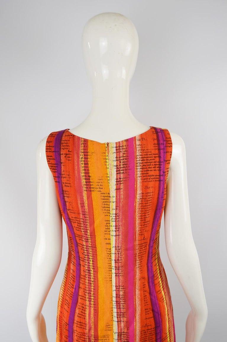 Moschino Cheap & Chic 'Recipe' Watercolor Stripe Print Rayon Dress, 1997 For Sale 1