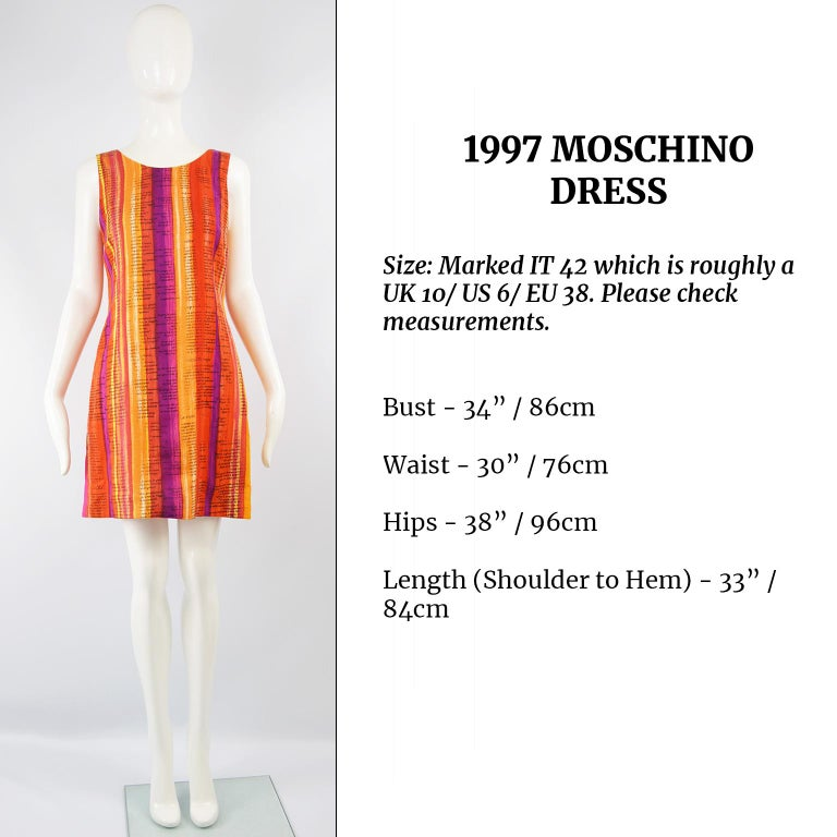 Moschino Cheap & Chic 'Recipe' Watercolor Stripe Print Rayon Dress, 1997 For Sale 3