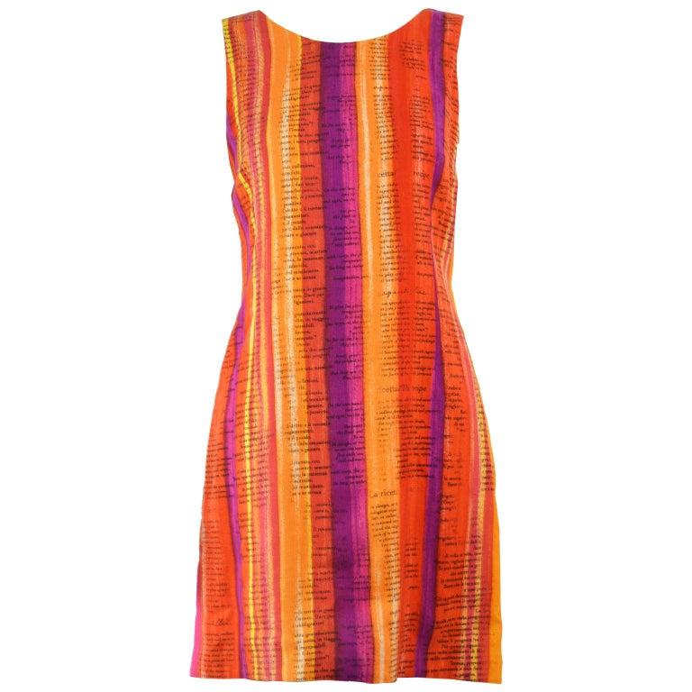 Moschino Cheap & Chic 'Recipe' Watercolor Stripe Print Rayon Dress, 1997 For Sale