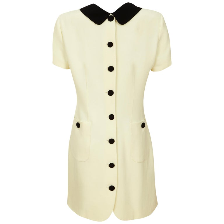 Moschino Cheap & Chic Shift Dress 1990s Vintage 'Back to Front' + Double Collar For Sale