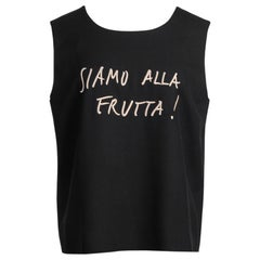 "MOSCHINO Cheap & Chic ""SIAMO ALLA FRUTTA!"" Black and Gold Embroidered Top, 1990s"