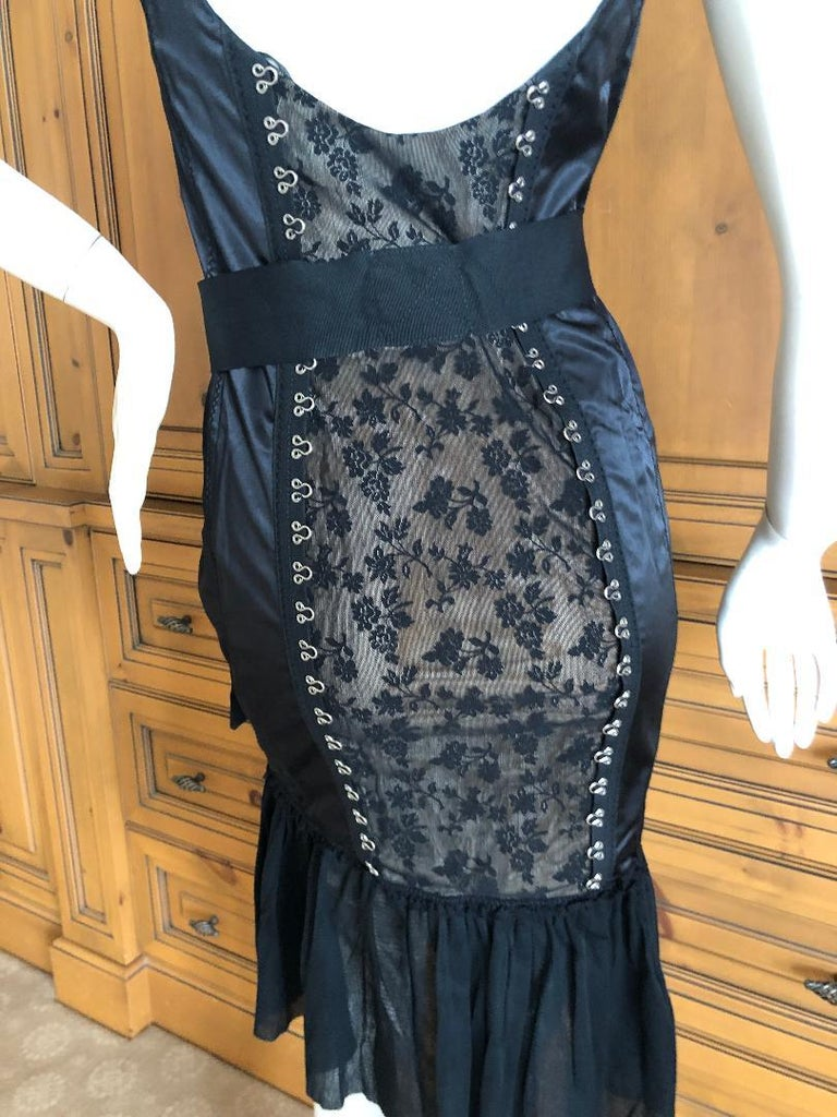 Pink Moschino Cheap & Chic Vintage Black Lace Trim Dress with Corset Stay Details For Sale