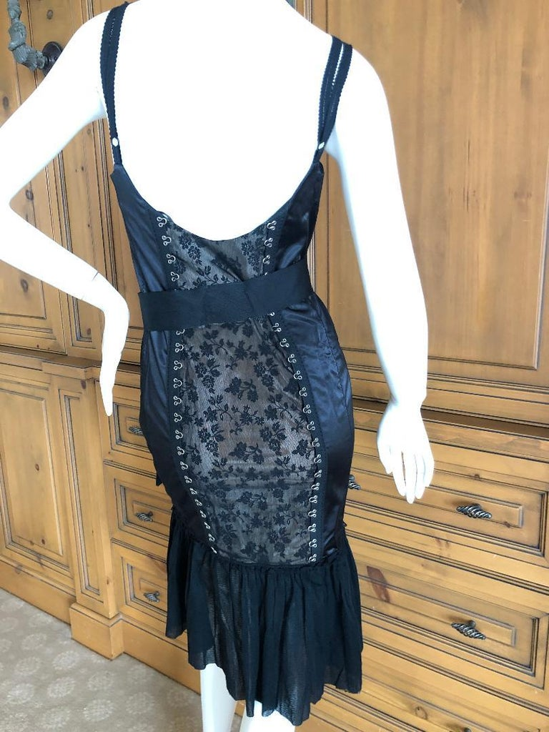 Moschino Cheap & Chic Vintage Black Lace Trim Dress with Corset Stay Details In Excellent Condition For Sale In San Francisco, CA