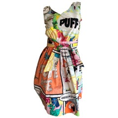 Moschino Cheap & Chic Vintage Cartoon Print Cotton Dress w Belt