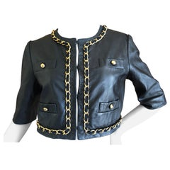 Moschino Cheap & Chic Vintage Cropped Black Lambskin Jacket with Gold Chain